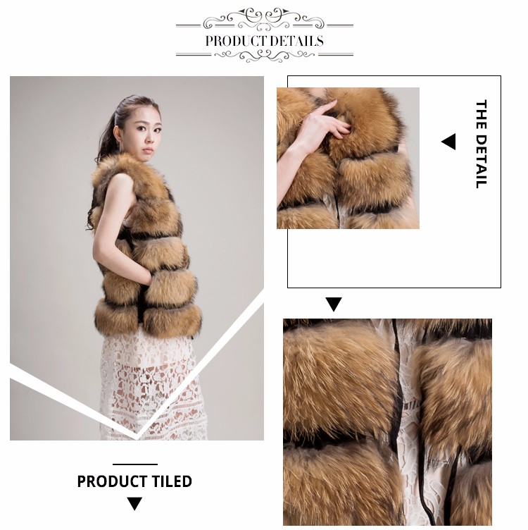 2017 new design fashion style women long raccoon vest
