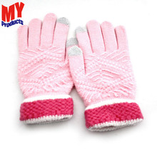 Top selling white solid color microfiber polyester plush soft lady children knitted magic glove
