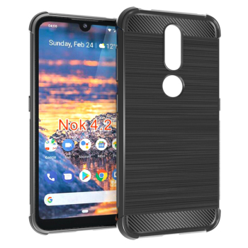 carbon fiber brushed shockproof tpu case for Nokia 4.2 soft back cover