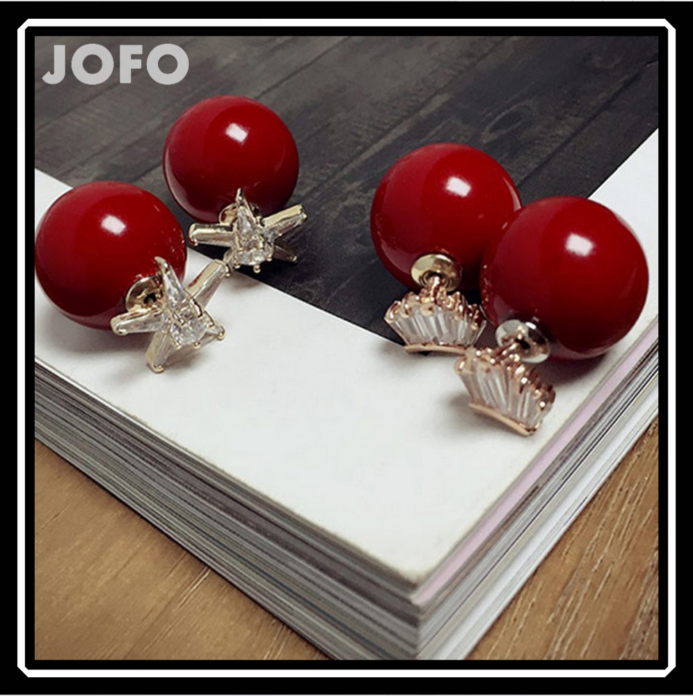 Shinning wholesale zircon women fashion Red Pearl Anti allergy earring