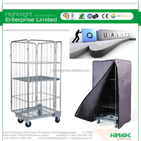 Warehouse Wire Rolling Collapsible Storage Cage Cart