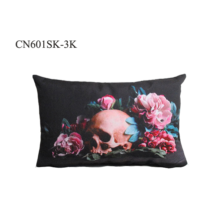 china products textiles fabric home decoration custom OEM skull printed pillow case