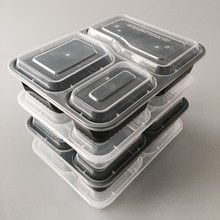 1000ml 3 compartments transparent PP Plastic Take Away Box Food Container With High Lid