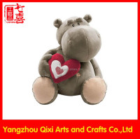 Valentine hippo plush toy cute stuffed plush hippo with red heart