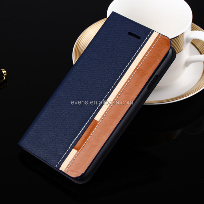 Contrast color Fashion PU Leather Wallet Flip Mobile Phone Case Cover For HTC Desire 200
