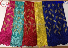Wholesale yellow Color and 100% Polyester,net Material tulle african fabric lace