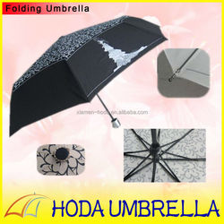 Hot sell antique pattern 3 fold fiberglass long ribs portable auto open and close sun &rain girl umbrella for promotion