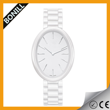 White elegant ceramic waterproof watches women,fashion white ceramic watch