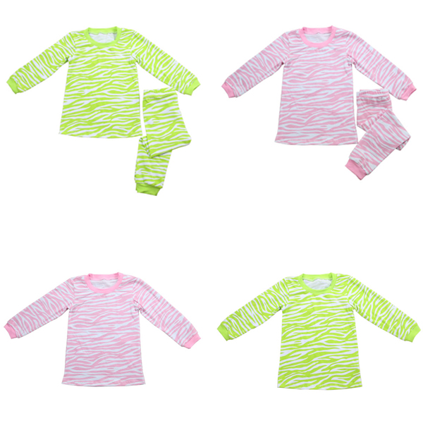Wholesale fall autumn lovely kid zebra print cotton knit kids girls pajama