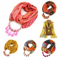 2017 wholesale charming printed cotton women infinity pendant jewelry scarf