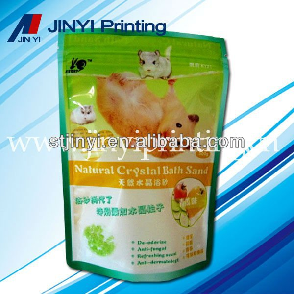 Standing plastic ziplock sand bag for pet bathing
