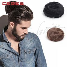 fashion original clip on man bun wig natural black color