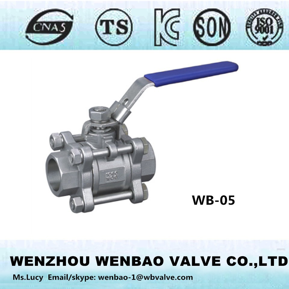 WB-05 Socket weld 3pc ball valve /ball valve CF8 1000 wog /water valve with locking devices