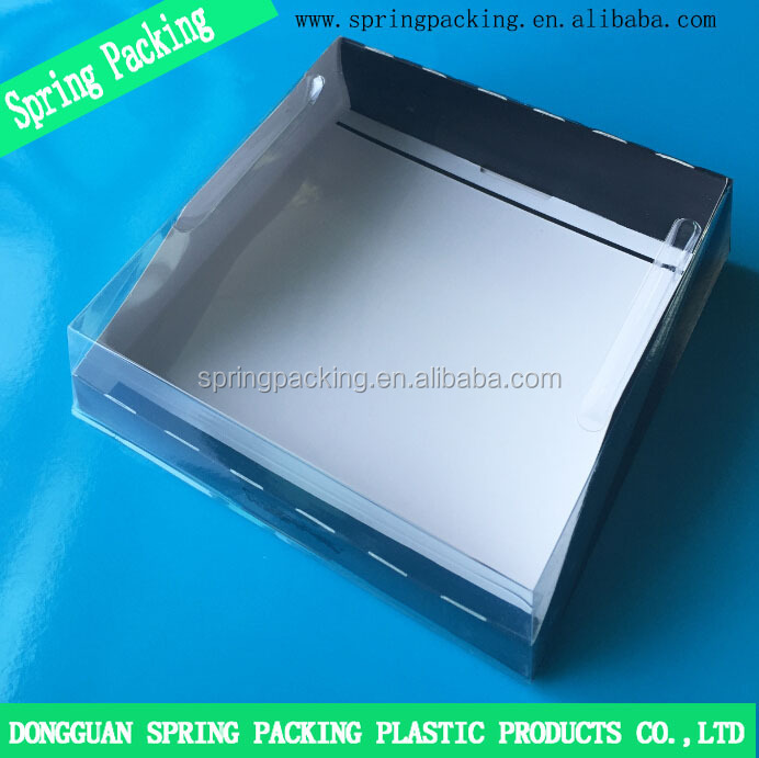 Hot sale Clear PET transparent lid with Paper base tray Cake box black box clear lid