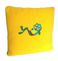Bright yellow pillow case with a frog