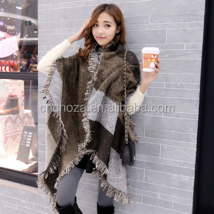 Z60218Y Women Big Loose Hot Sale Cashmere Fashion Scarves Tassel Scarf