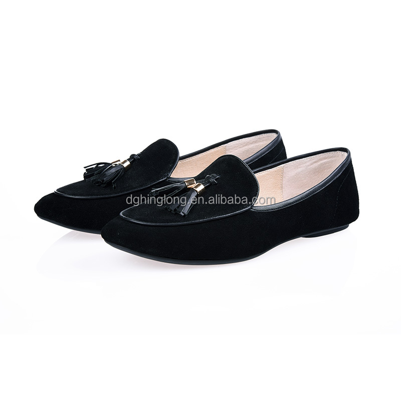 Classical linen dress shoes light weight breathable leather ballet shoes stitching turn shoes