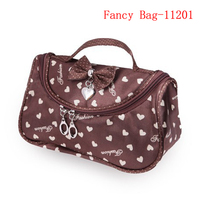 Satin material convenient handle cosmetic bag for girl