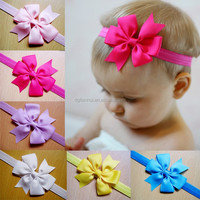 factory cheap custom design child nylon grosgrain bow headband hair clips fabric kids hair baby headband