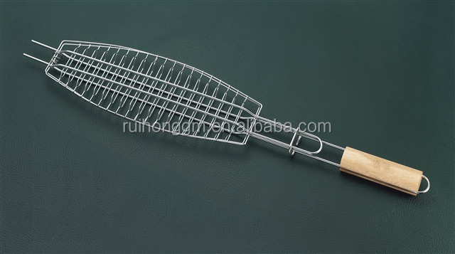 Hot selling Single chromeplated Fish grill wire mesh net bbq charcoal grill