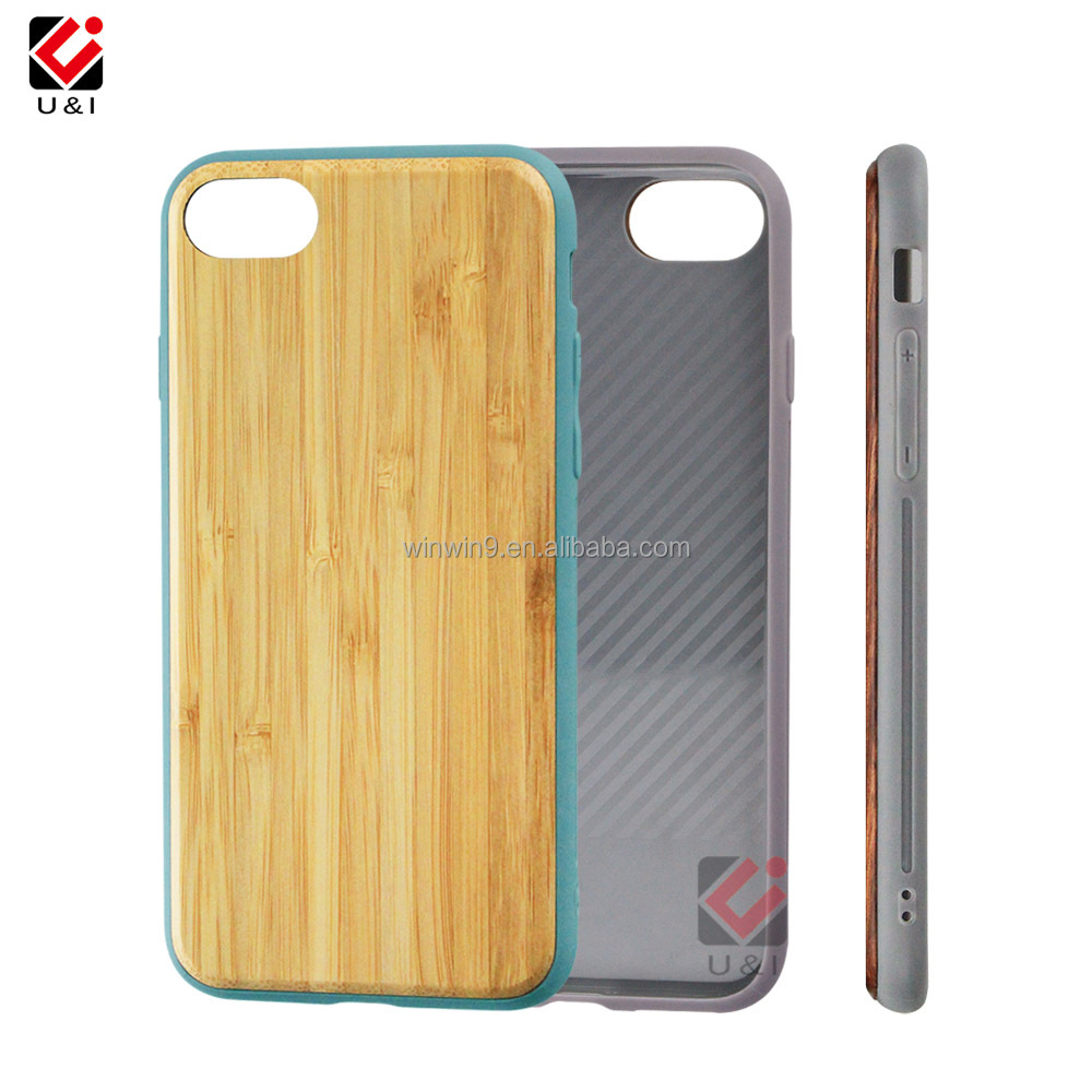 mobile phone accessories,new tpu color wood case for Iphone 7,plain wooden case for iphone 7