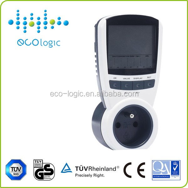 Programmable smart energy meter/power meter socket/plug with large LCD display for home applicance