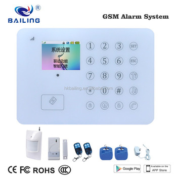 Android/IOS app control TFT touch panel burglar alarm home security gsm alarm system with door/PIR sensor