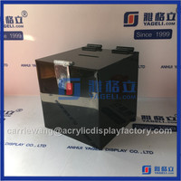 China Yageli acrylic coin / donation box / acrylic collection box with lock