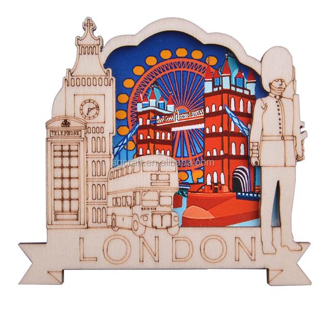 London 3D Hand Carving Wood Material Fridge Magnet Of London Eyes