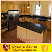 Professioal dark black quartz stone island kitchen tops