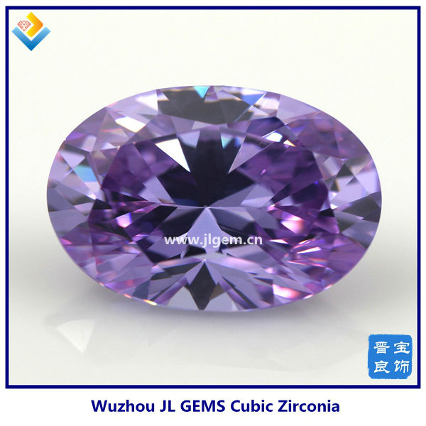 2014 Hot Sale Wuzhou Synthetic Oval Shape Light Amethyst cubic zirconia stone