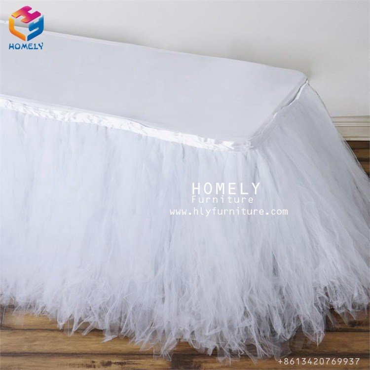 Factory price spandex tulle table skirt for wedding decoration(Roger)