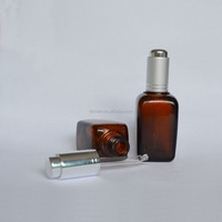 Clear Amber Black Fragrance Square Perfume Bottle with Spray Pump