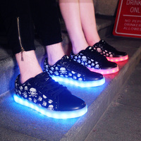 2017 new arrivals comfortable Skull adult sneakers led shoes india