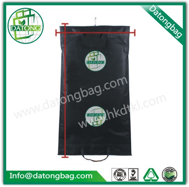 OEM logo & design nonwoven black zip lock suit garment foldable eco bag