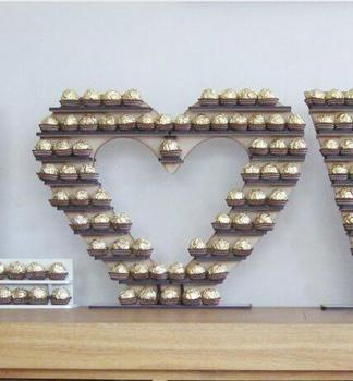 wedding chocolate favor heart shape display stand