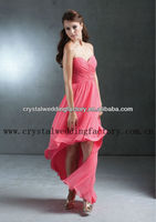 Free shipping strapless ruched sweetheart high low hem front short long back custom-made pink bridesmaid dress CWFab5060