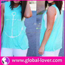 Latest arrival sleeveless T-shirt names of ladies clothing brands