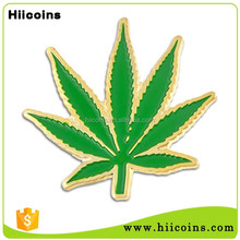 Promotion Gift Gold Plated Metal Maple Cannabis Leaf Lapel Pin