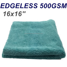 500GSM Ultrasonic Cutting Edgeless Professional Plush Personalized Microfiber Detailing Cloth Polishing Buffing Towel