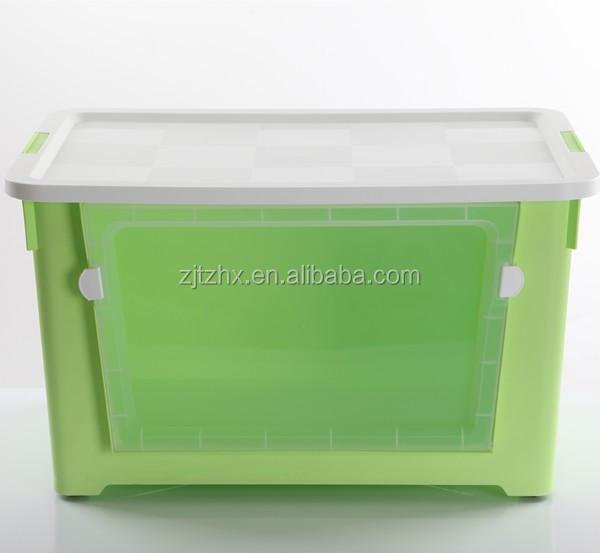 De pl stico de colores 70l caja con ventana transparente - Cajas de plastico con ruedas ...