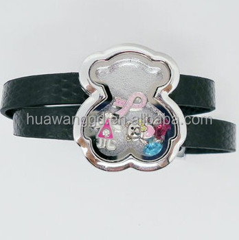 Wholesale little bear shape memory locket leather bracelet