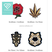 Flower and Leaves beads Iron on Patches cloth Applique Embroidery bead accessory coat DIY