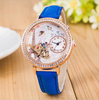 2016 new European and American fashion exquisite Rhinestone Ring Denim belt pastoral style watch