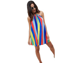 Hot Sell Women Rainbow Stripe Sundress Halterneck Loose Short Dress