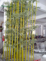 artificial tree / fake bamboo pole / real trunk bamboo bonsai tree with leaves