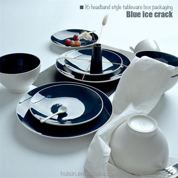 Wholesale 16 pieces tableware blue and white ice crack ceramic dinner set