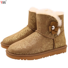CF- 270 Gold Color Single Button Wholesale Genuine Leather And Real Fur Winter Ladies Boots Shoes