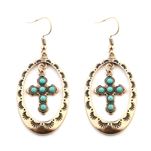 European and American style new style retro hollow round turquoise cross alloy pendant earrings