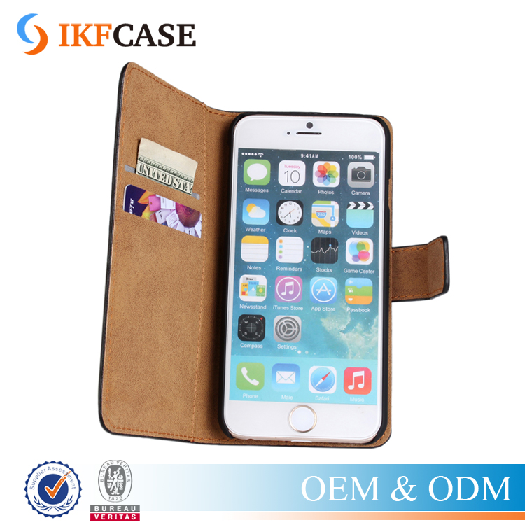 Hot Sales! Luxury Plain Skin PU Leather Mobile Phone Accessories Case For Apple iPhone 6